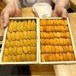 Kagurazaka sushi tamura - バフンウニとムラサキウニ食べ比べ