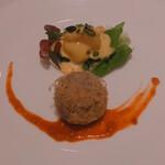 135206816 - 海老のヘルシーマンゴーマヨネーズソース 海老と野菜のタロイモ皮包み揚げとともに