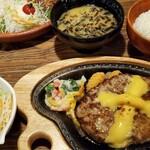 Bikkuridonki - チーズバーグステーキ300g+和風セット+サラダ