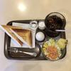 フジカフェ - 料理写真:モーニングBセット、ハムチーズエッグ、サラダ、アイスコーヒー680円