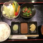 135226987 - ご飯 お味噌汁 生野菜 小鉢付きです