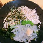 海ひこ - 紫蘇、生姜、ワカメ、海苔が添えられて