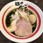 135256701 - 和風冷やしらーめん 生海苔ときまぐれ煮干しのそば(1100円)+味玉(120円)