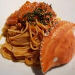 隠れ茶房 茶蔵カフェ - 渡り蟹のトマトクリームパスタ