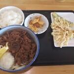 135327476 - 肉ぶっかけ&天ぷら2品