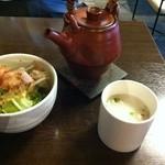 13533904 - ゆるねやセットの豆乳スープ・サラダ・ほうじ茶