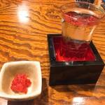 竹泉 - 吉田蔵大吟醸とお通しの梅くらげ