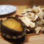やまぐち - 立派なあわびと松茸のリゾット。秋の香りがふんだんに。