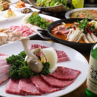黒毛和牛A5ランクの焼肉や、種類豊富な本格韓国料理に舌鼓♪