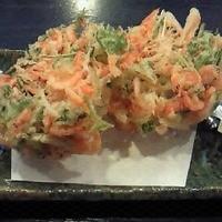 江戸前きよ寿司 - 新茶と桜えび ・水菜と桜えびのかき揚げ