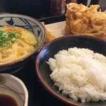 丸亀製麺 - 釜玉、ごはん、かき揚げ、えび天