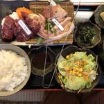 松阪牛たんど - あみ焼きランチ 梅  1408円税込 カルビ→ハラミ、豚トロ、鶏もも 3種