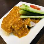 四川担担麺 蒼雲 - 個人的一推しサイドの棒棒鶏、旨味が活性化されまくったしっとり鶏〜極上のソースの相性は唯一無二(*⁰▿⁰*)