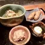 135549549 - ○八寸:枝豆チーズ、真魚鰹の真子、塩茹で落花、素麺瓜ゴーヤ土佐酢ジュレ様