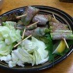 権兵衛 - 大将のおまかせ串盛り(野菜を豚バラで巻いてます)