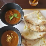 プラーナ - 料理写真:カレー2種とアボカドチーズナン