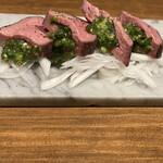 名古屋 名駅 肉寿司 - 厚切り包みネギタン