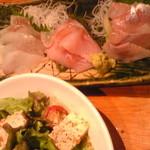 北海道正直村 - 梅豆腐サラダ、お刺身3種