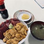 鶴亀屋食堂 - サービス品 ダブル丼 大間の本マグロと生うに(3,850円税別)