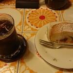 エスプレッソ珈琲 吉田屋 - フルーツロールケーキ&アイスコーヒー