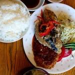 鹿ジビエと手作り定食カイザー - 『今日のサービスランチ』の『茄子の鹿肉はさみ揚げと鹿肉ミンチカツ』(税込み1000円)