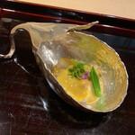 135709304 - 蒸し鮑、焼きナス、車海老、柚子味噌掛け