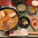 たまひで いちの - 三昧親子丼 + スープセット + アサヒ プレミアム熟撰(中瓶)