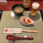 たまひで いちの - スープセット + アサヒ プレミアム熟撰(中瓶)