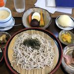 神宮亭  - ざるそば定食 1,050円(税込み)  右上の白くて丸いデザートは薩摩蒸気屋のお店らしく「かすたどん」です。