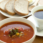 cafe N24 by kodomosekai - 「豆とひき肉のトマトスープ と ライ麦パンのセット」 ※ドリンクとあわせてご注文下さい。 【平日ランチ対象】