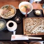 お蕎麦 結 - 結のセット¥1,700(せいろ、とろろご飯、旬の野菜天ぷら、お新香、そばの実アイス)