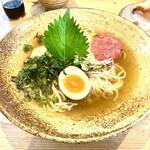 ピュアスープラーメン シズク - 料理写真:神山の梅肉冷やし鶏天そば