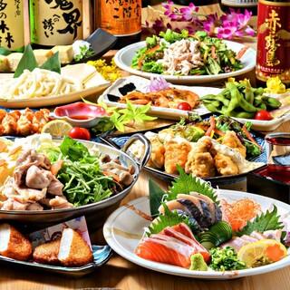 最大3時間飲み放題付コース3000円~!九州各県の名物料理◎