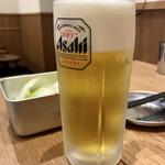 串かつ でんがな - 生ビール スーパードライ 525円。  *クーポンで無料*