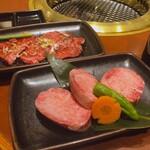 本格焼肉 カンゲン - ♦︎アサヒ中瓶       ¥600 ♦︎上タン塩ジャストサイズ ¥1,480 ♦︎食べログクーポンサービスカルビ