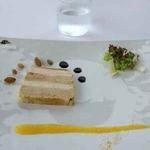 13593746 - フォアグラと鶏胸肉のプレッセオレンジのコンフィチュールと爽やかなグリーンレーズン