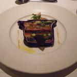 13594367 - 16種類の有機、安曇野野菜のテリーヌ、岩手清流鶏ササミの蒸し焼き ショウガの香り 赤紫蘇のジュレを添えて