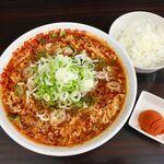 元祖カレータンタン麺 征虎 - カレータンタン麺(変態)+ランチサービスの小ライス