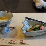 梅の花 - 梅の花膳の巌岡豆腐とお浸し