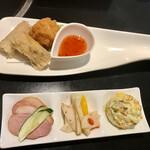 石鍋料理 健 - ランチコースの前菜3種、揚物2種