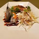 136038634 - パパイヤサラダ、春巻き2点盛り(生春巻きとあみあみ揚げ春巻き)の前菜