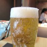 お好み焼きDining~城~ - さんざん呑んだ後ですが、冷たい生ビールを頂きました。