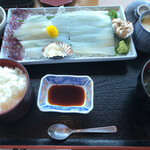 笑ぎょ - 活イカ刺し定食。刺身に+¥500で定食。