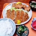 めぐみ食堂 - 料理写真:豚から定食(とんかつ+鶏唐) 全容。赤いのは西瓜