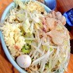 136132823 - 小ラーメン(790円) 麺少なめ、ニンニク アブラ+しょうが(50円)。
