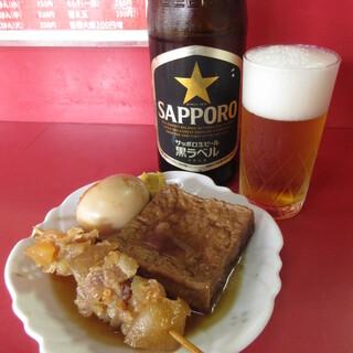 ラーメン天国 - 料理写真:おでんと瓶ビール