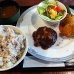 洋食家ロンシャン - バーコロ定食(ご飯大盛)