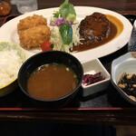 醍醐 - ハンバーグ コロッケ(蟹クリーム)定食