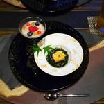 日本料理 湯河原 華暦 - 料理写真:先付: 生雲丹 羽二重豆腐 生海苔ジュレ    葡萄とトマトの甘酒