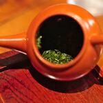 """楽風 - """"八女茶(やめちや)""""の""""玉露(ぎよくろ)""""、、第ニ煎後(だいにせんご)の茶葉(ちやば)"""